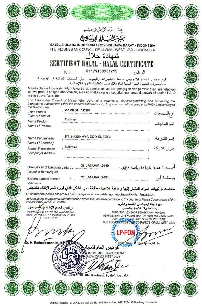 Sertifikat halal MUI 2019